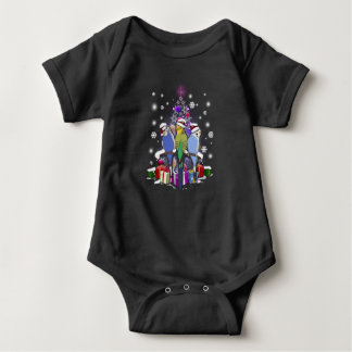 Budgerigars with Christmas Gift and Snowflakes Baby Bodysuit