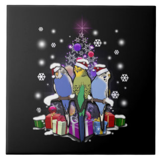 Budgerigars with Christmas Gift and Snowflakes Ceramic Tile