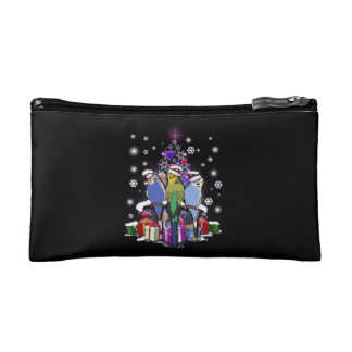 Budgerigars with Christmas Gift and Snowflakes Cosmetic Bag
