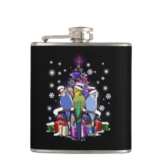Budgerigars with Christmas Gift and Snowflakes Hip Flask