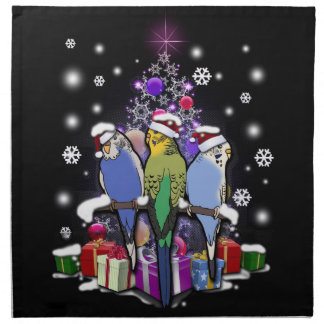 Budgerigars with Christmas Gift and Snowflakes Napkin