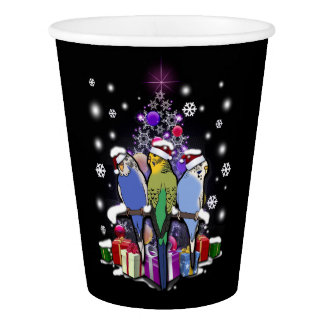 Budgerigars with Christmas Gift and Snowflakes Paper Cup