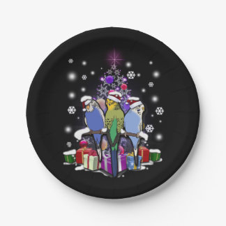 Budgerigars with Christmas Gift and Snowflakes Paper Plate