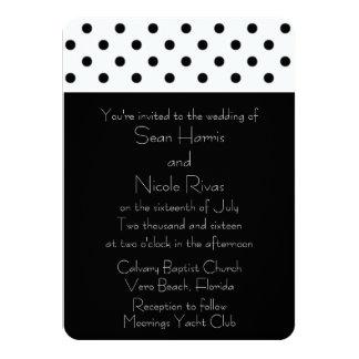 Budget Black and Whit Polka Dot Wedding Invitation
