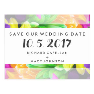 Budget Colorful Floral Wedding Save Date Cards