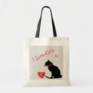 Budget I Love Cats Red And White  Graphic Tote