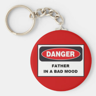 Budget Key Chain, Danger, Father in Bad Mood! Basic Round Button Key Ring