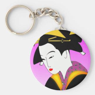 Budget Key Chain - Geisha in Colorful Kimono