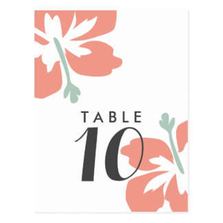 Budget Peach Hibiscus Wedding Table Number Cards