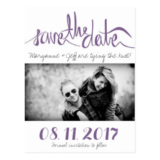 Budget Photo Purple Save the Date Postcards