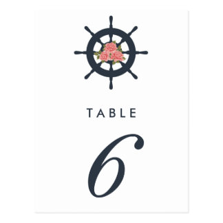 Budget Romantic Nautical Wedding Table Number Postcard