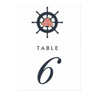 Budget Romantic Nautical Wedding Table Number Postcard
