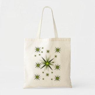 Budget tote handbag green stars white