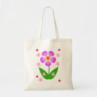 Budget tote handbag pink flower white