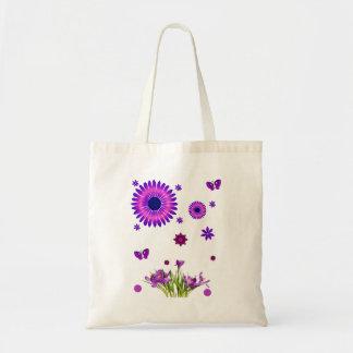 Budget tote handbag purple butterfly flower white