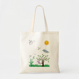 Budget tote handbag white birds flying over pond
