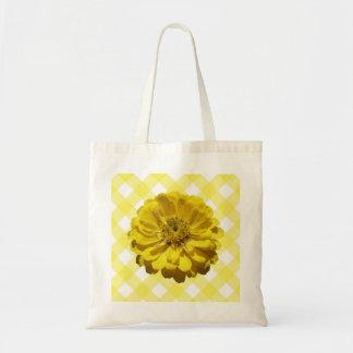 Budget Tote - Yellow Zinnia on Lattice Tote Bag