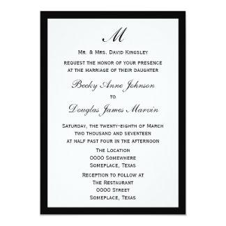 """Budget Wedding Invitation Pick Border Color White 5"""" X 7"""" Invitation Card"""