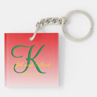 Budget Wedding Red Double-Sided Square Acrylic Key Ring