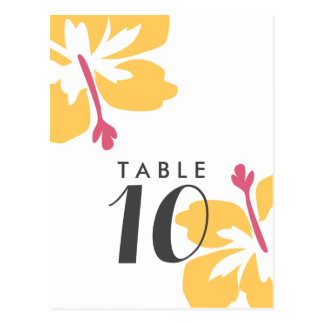Budget Yellow Hibiscus Wedding Table Number Cards Postcard