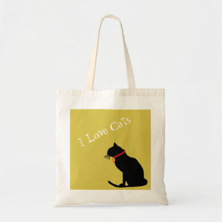 BudgetI Love Cats Yellow And White  Graphic Tote