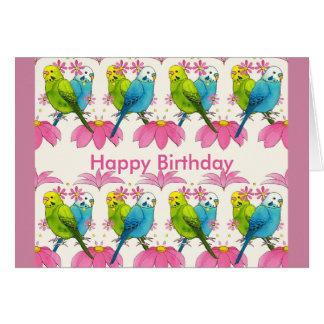 Budgie bird Happy Birthday card