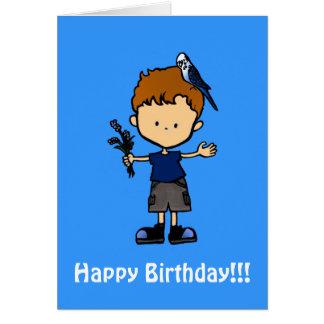 Budgie Boy Birthday Card (C112b3)
