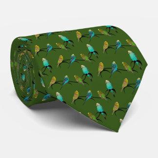 Budgie Frenzy Tie (Dark Green)