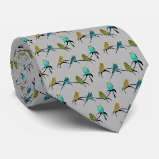 Budgie Frenzy Tie Double Sided Print (Grey)