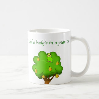 Budgie in a Pear Tree Basic White Mug