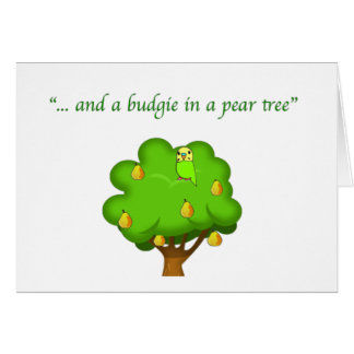 Budgie in a Pear Tree Greeting Card