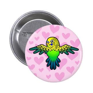 Budgie Love 6 Cm Round Badge