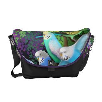 Budgie Parakeet Love Rickshaw Messenger Bag