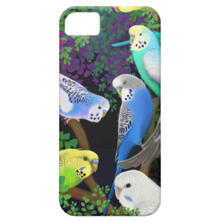 Budgie Parrots in Ferns iPhone Case