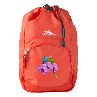 Budgie with Purple Orchid Backpack