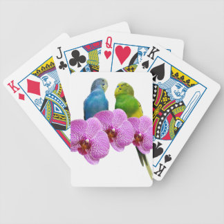 Budgie with Purple Orchid Bicycle Playing Cards