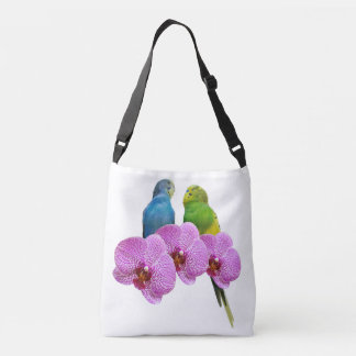 Budgie with Purple Orchid Crossbody Bag