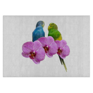 Budgie with Purple Orchid Cutting Board