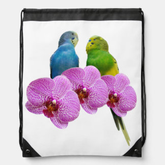 Budgie with Purple Orchid Drawstring Bag