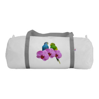 Budgie with Purple Orchid Gym Bag