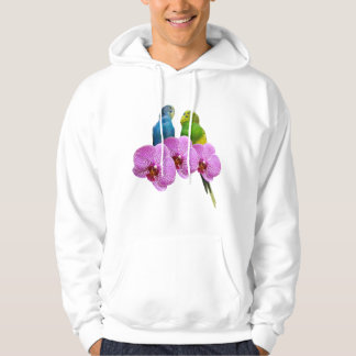 Budgie with Purple Orchid Hoodie