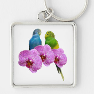 Budgie with Purple Orchid Key Ring