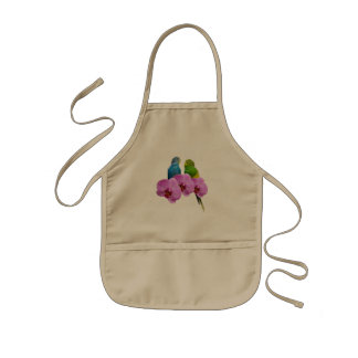 Budgie with Purple Orchid Kids Apron