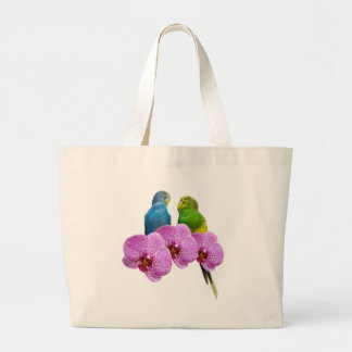 Budgie with Purple Orchid Large Tote Bag