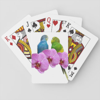Budgie with Purple Orchid Playing Cards