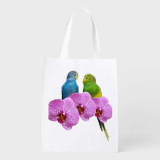 Budgie with Purple Orchid Reusable Grocery Bag