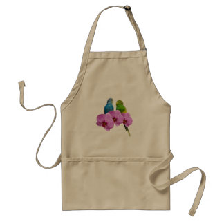 Budgie with Purple Orchid Standard Apron