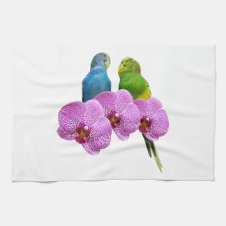 Budgie with Purple Orchid Tea Towel