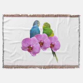 Budgie with Purple Orchid Throw Blanket