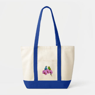 Budgie with Purple Orchid Tote Bag
